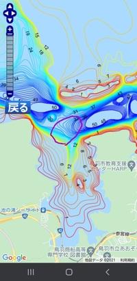 本日、三重県鳥羽市小浜町から500m沖でボート釣りしてきました。画像の紫で囲ったエリアが一日の航行エリアです。今シーズン初です。 しかし、ジギング、タイラバ、エサ(キビナゴ、オキアミ)釣り、サビキ釣りと試しましたが、朝6時出船、午後2時納竿で1匹も釣れませんでした。二人で行きましたが、二人ともアタリすらありませんでした。ハマチやマダイが釣れるエリアと聞いたのにです。  気温15℃水温16℃中...