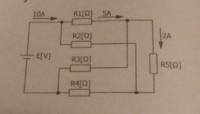 キルヒホッフの法則、電気回路の問題です。 【問】図の回路において、抵抗R2、R3、R4に流れる電流を求めよ。 R2:5A R3:3A R4:7A がこの問題の答えなのですが、解き方が分からず... もしわかる方がいましたら、ご教授ください。