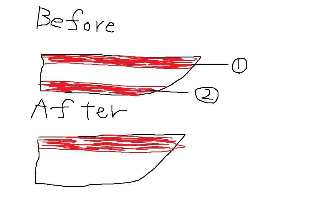 船塗装について質問です。プレジャーボートの塗装を変えようと思っております。 汚い絵ですが、現在の色が赤、白、赤になっており、完成後は赤、白、白にしたいのですが、一度もともとついている塗料をはがす必要がありますか?毎年、フジツボを取ったり、塗装をし直したりしていると思いますが、この場合赤以外の場所を毎年塗りなおす形でしょうか?おすすめの塗装方法、塗料などありましたら教えていただきたいです。