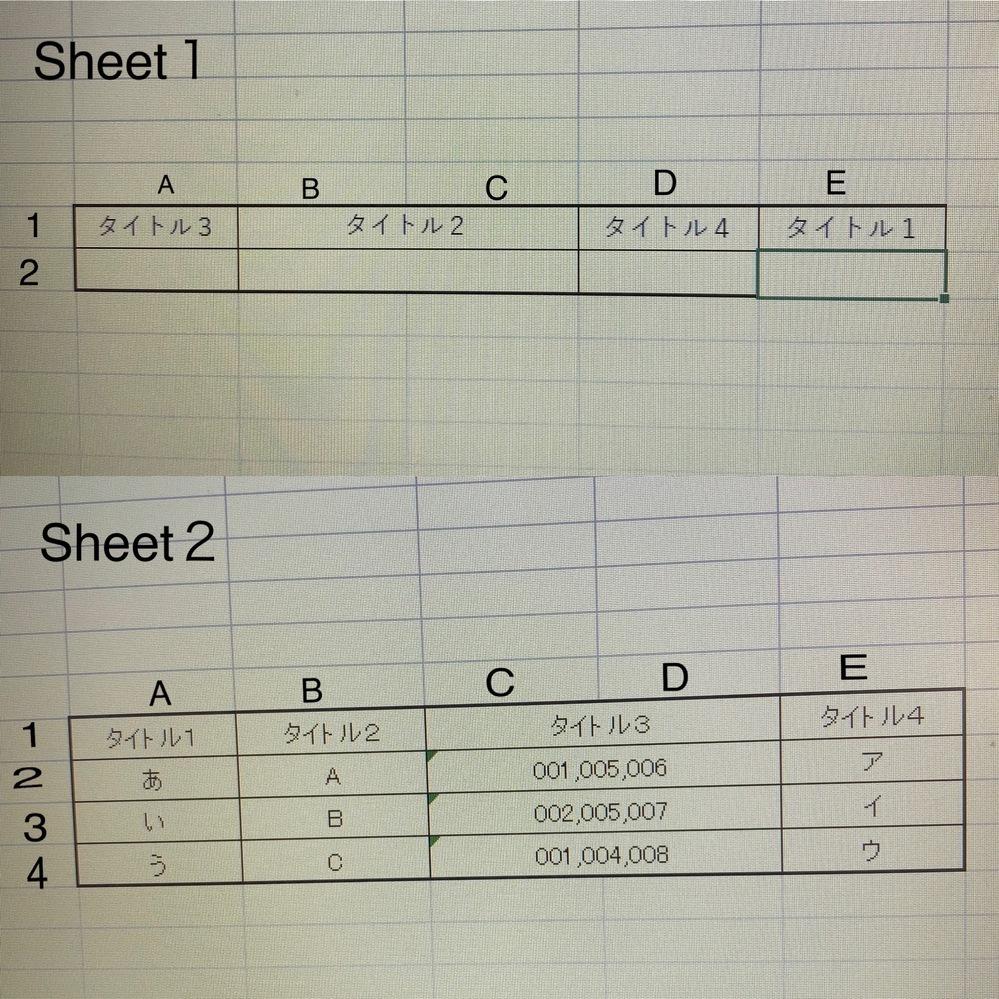 Excelの関数について質問です。 写真のSheet2のCD2:CD4の中の「001」や「005」がありますが、この数字をSheet1のA2のセルに入力するとBC2:E2まで該当のものが表示される…というような関数はありますでしょうか? 例えば、、、 Sheet1のA2に「005」と入力すると、BC2には「A」と「B」、D2には「ア」と「イ「 」、E2には「あ」と「い」というように連...