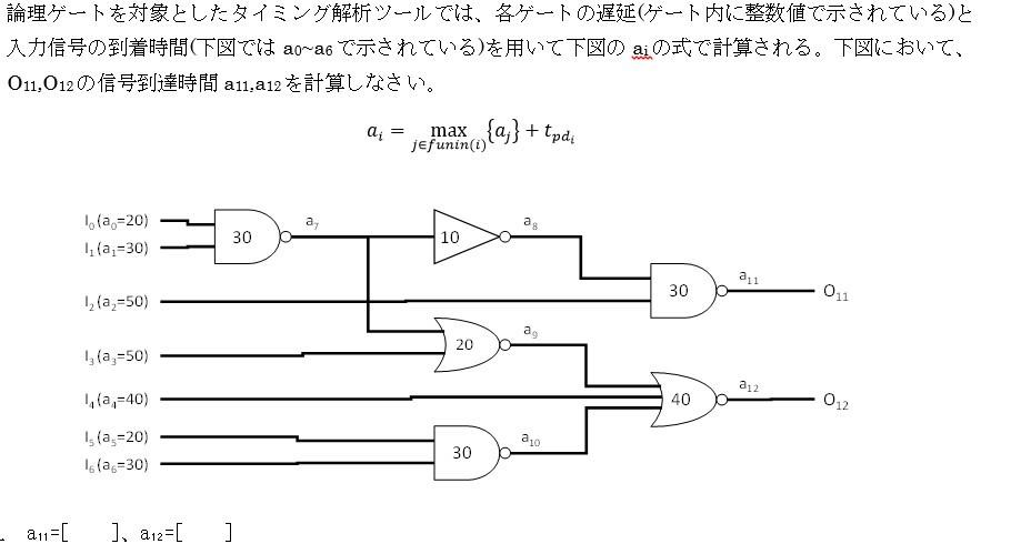 集積回路 情報 システム設計 論理ゲートの問題が分からないのでa11とa12を教えてください! よろしくお願いします。