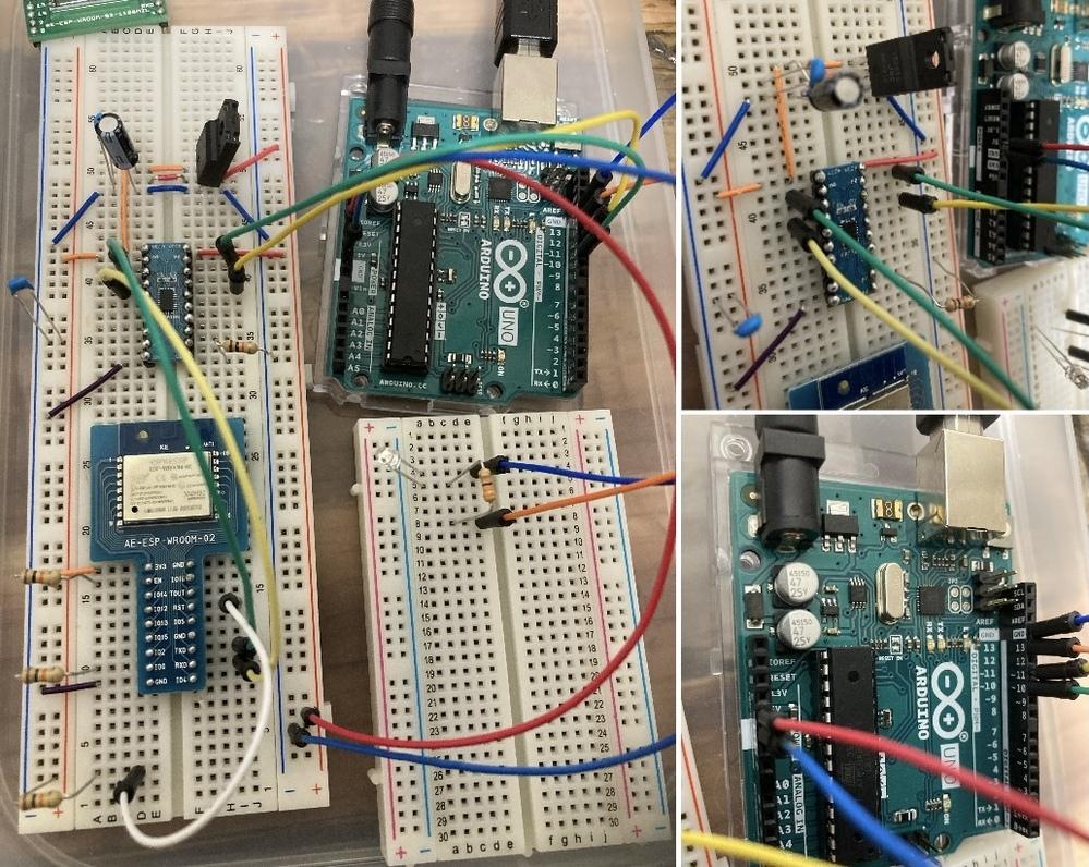 電子回路、マイコン初心者です。 Arduino Uno R3とWifiモジュールESP-WROOM-02を使用した通信についての質問です。 下記のサイトと同じことをしたいです。 https://ics.media/entry/10457/ 回路を組み、プログラムを書き込みましたが、シリアルモニターの改行コードと転送レートの変更をしてもHello World?の応答がありません。Goodnig...