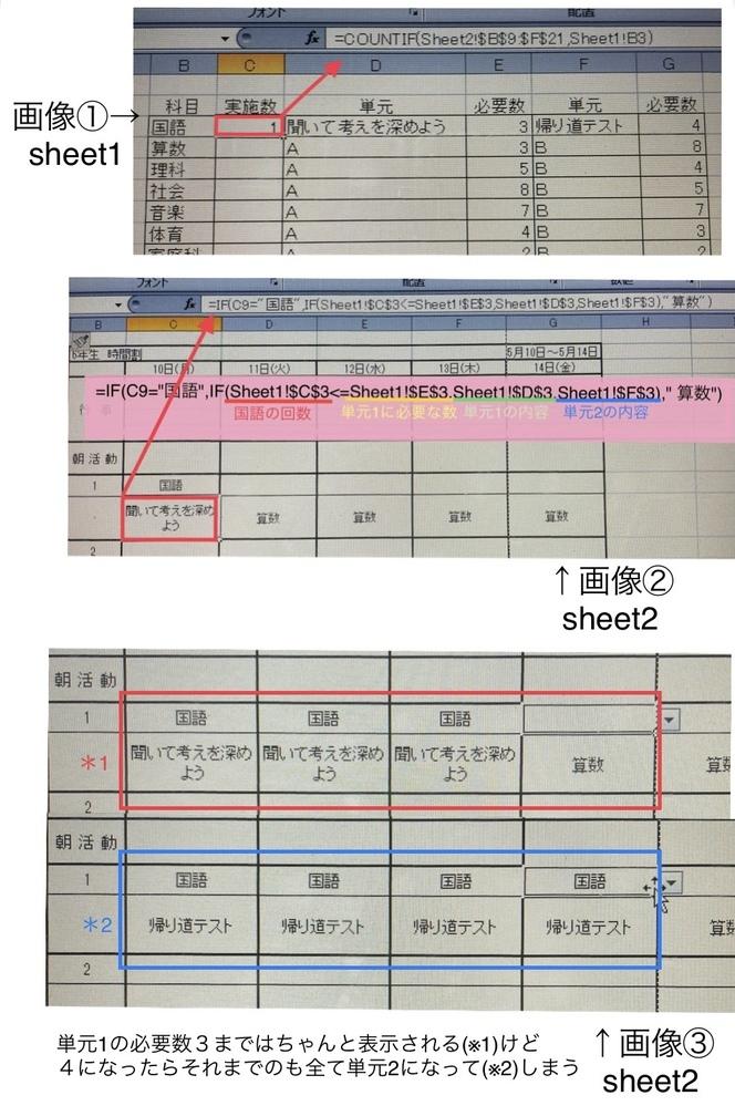 Excelの関数について。 時間割表を作成しているのですが、決められた時間を超えたら次の単元が自動で選択されるようにしたいです。 今はsheet1に科目、実施数、単元、必要数を表にまとめ(※画像①)、sheet2に時間割表を作成してIF関数を用いて引用しています(※画像②) ここまではよかったのですが、単元1の必要数を超えるとそれまでのものまで全て変わってしまいます。(※画像③) 入力時...