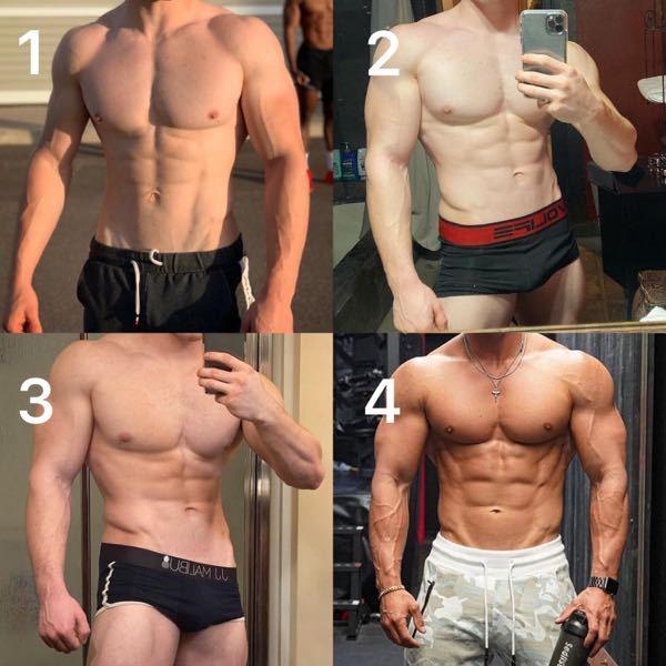 【質問①】 写真1・2・3くらいの身体になりたいんですが、体脂肪率は何%か見て分かりますか? 【説明】 写真4くらい絞った身体よりは、1・2・3くらいの身体になりたいです。 【質問②】 写真のような身体になるた めには、高重量×低回数の筋トレがいいですか? 【説明】 筋トレ始めたいのですが独学なので色々分かりません。 今は、体脂肪率が20%くらいあるので太り気味です。 【質問③】 写真1・2・3くらいの身体になるには、一度肥満体重くらい太ってからその後に筋トレして絞った方がいいですか? 【説明】 僕は今、ダイエットから始めてて、体脂肪率を26%から20%まで落としたんですが、とりあえず13%まで落とす予定です。