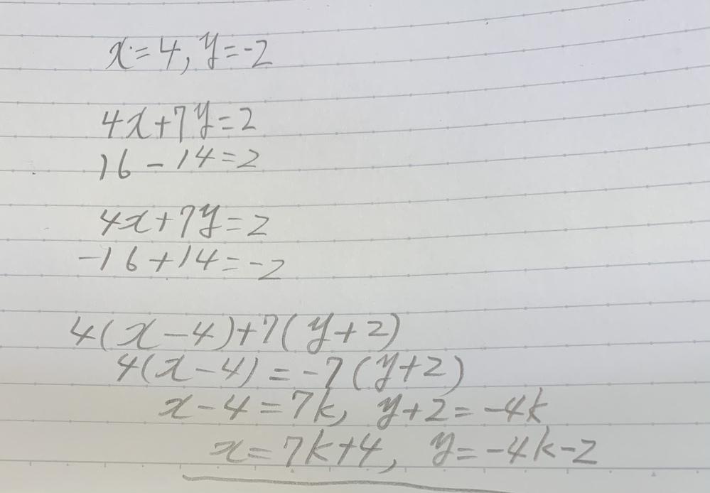 不定方程式の問題で、4x+7y=2という式で、x=4,y=-2として、特殊解を求めて、一般解を求めていますが、写真のような答えになってしまいます。 本当は、解答は、x=-7k+4,y=4K-2(kは、整数)になるはずです。自分の回答はどこが間違っているのでしょうか。
