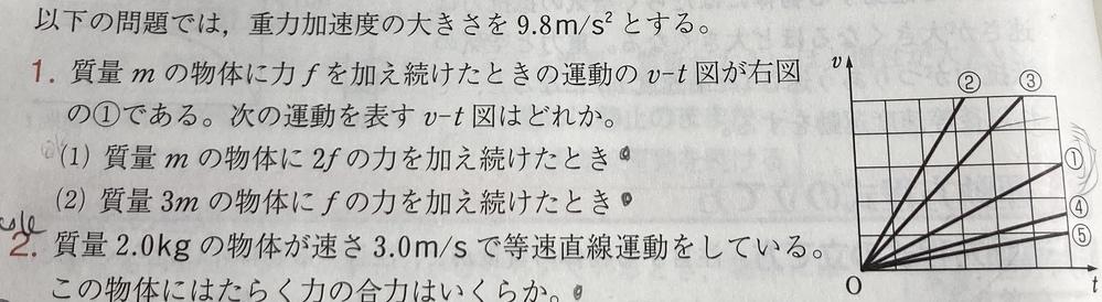 大門1の問題についてなのですが解き方を分かりません 答えは(1)③(2)⑤でした。 わかる方いらっしゃれば教えて下さると助かります߹ᯅ߹