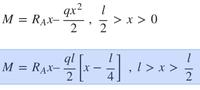 材料力学の等分布荷重とはりの問題で質問です。  このサイトに載っていた式(添付画像で青く示した式)が分かりません。 https://em.ten-navi.com/dictionary/19/  画像の上の式は M=Rₐx-∫ qx dx から求めたのかとか、青く示した式は荷重wl/2を利用したのか、などと推測していたのですが[x-l/4]の辺りから全く辻褄が合わなくなりました。 ...