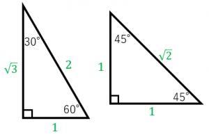 左の三角形の高さが1のところから 60°のとこに線を引いたら45°になるんですか?