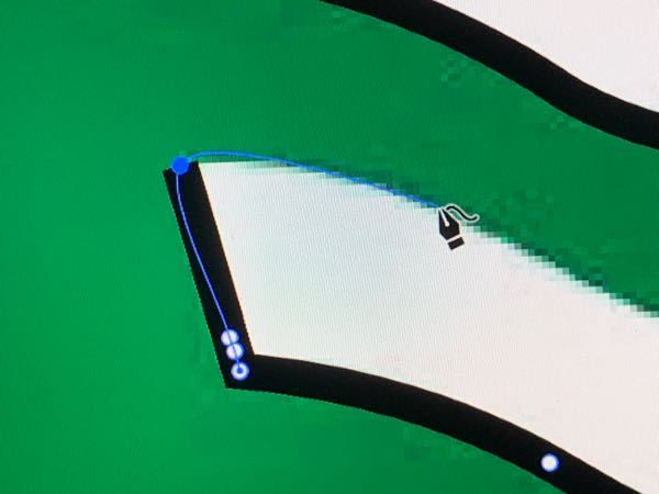 イラレの曲線についてです。 直線と曲線を混ぜる時に直線が歪んでしまいます。 どうすれば直線と曲線を混ぜて使えるでしょうか?