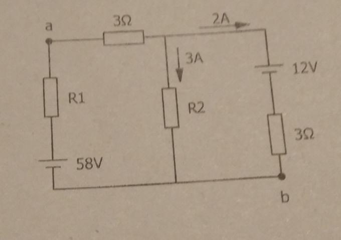 キルヒホッフの法則の問題です。 【問】画像の回路において、抵抗R1、R2を求めよ。 また、a-b間の電位差Vabを求めよ。 この問題の解き方を教えていただけませんか?