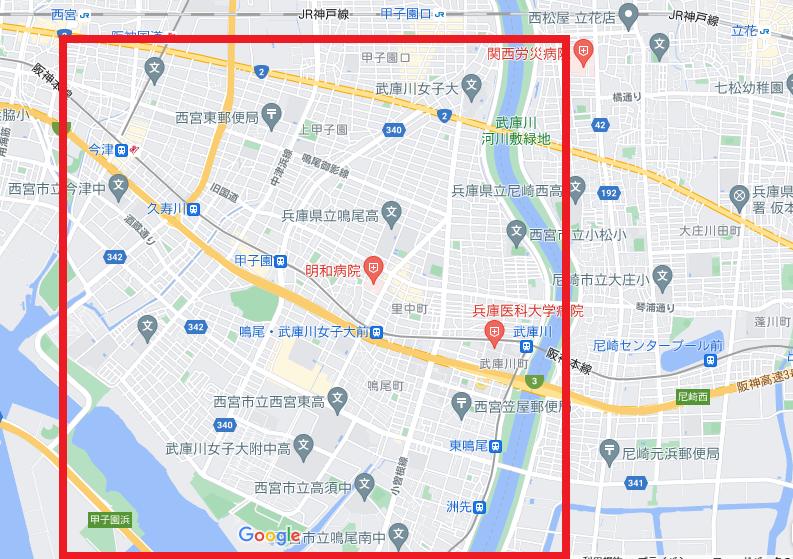 兵庫県はJRより海側は全部埋立地って聞いたんですが、赤い部分も元は海だったんですか??? この辺、結構大きめの豪邸も結構あり、綺麗な町並みなんですが、埋め立てたつくりもんのサイボーグランドなんですか?