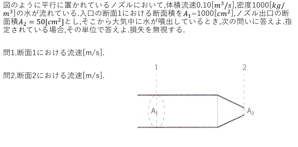 流体力学の問題が分かりませんでした. よければどなたか途中式含めて答えを教えていただけないでしょうか.