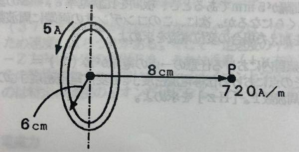 磁気学 電気 回路 画像の半径6cmの円形コイルに5A流したら中心軸上の点Pの磁界の強さが720A/mの時のコイルの巻数の求め方を教えてください