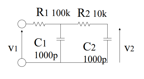 Kv=v2/v1の振幅特性を折れ線近似で求めよ この問題が全く分かりません. v2/v1の求め方を教えてください。また、グラフの曲がる周波数も教えていただけると幸いです。