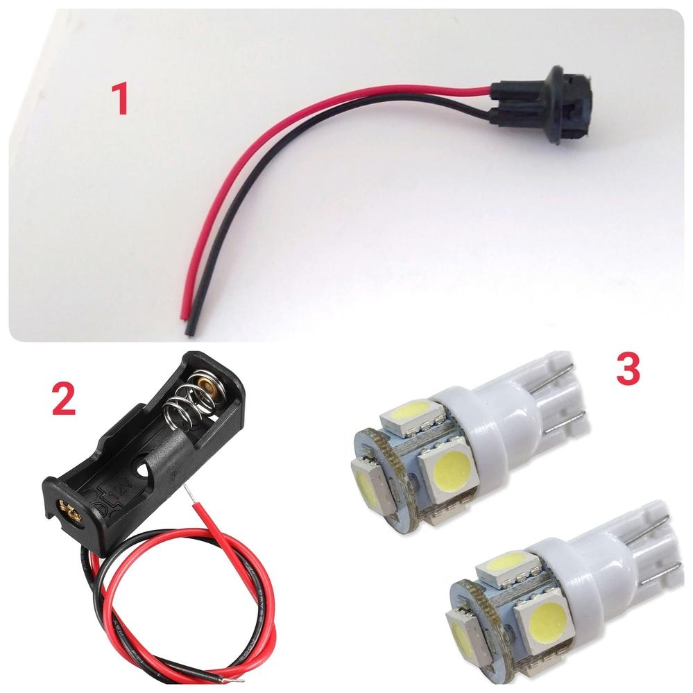 画像の1はT10/LEDウェッジ球用のソケット(12V-24V)です。 画像の2は23A電池用(12V)ホルダーです。 ソケットとホルダーの線をつないで、ソケットに画像3のLEDウェッジ球(1...