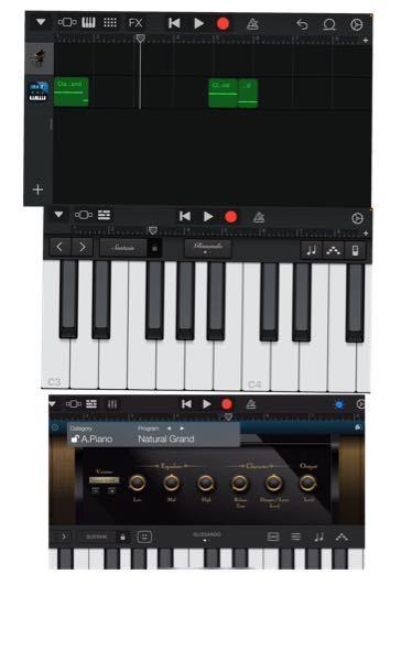 garagebandの事です リスカピアノがしたくてモジュールというアプリを入れたのですが上手く機能しません モジュールを出せたのはいいのですが、1番下の画像のような画面にできません。そして音も...
