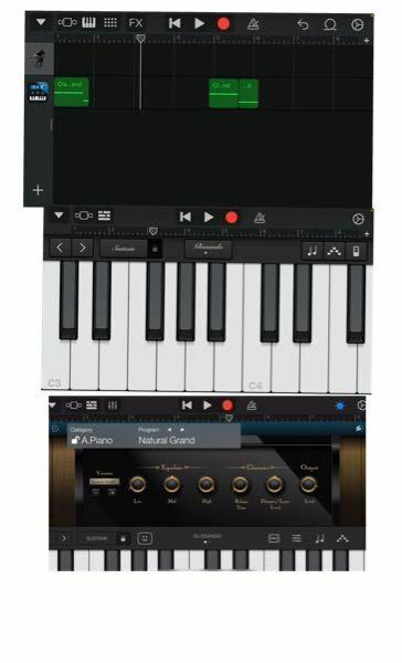 garagebandの事です リスカピアノがしたくてモジュールというアプリを入れたのですが上手く機能しません モジュールを出せたのはいいのですが、1番下の画像のような画面にできません。そして音も普通のピアノになってしまいます どうすればいいですか? ※1番下の画像は拾い画です