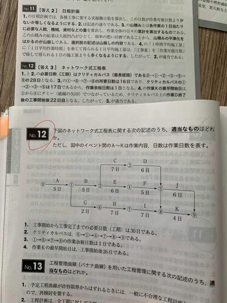 1級土木施工管理技士の過去問についてです。No.12の解答が間違っていると思ってるのですが、固定観念ですかね?最早、問題文と解答が噛み合ってませんよね?クリティカルパス29日ですよね? 問題側が間違ってるなら間違ってるで気にしませんが、もし自分の勘違いだったら嫌だなと思って確認したいのでどなたかお願いします。