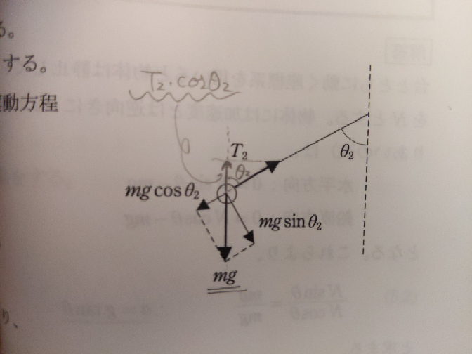 物理の単振り子の質問です。質量mのおもりをつけた単振り子が、ある角度θ2で頂点に達したとき、糸の張力T2を求めたいです(添付写真参照) 私は「T2の鉛直成分であるT2*cosθ2と、重りに作用する重力mgとが釣り合う。すなわちT2=mg/cosθ2」と考えました。 一方、手元の参考書の解説では「T2と、重りに作用する重力mgの向心成分であるmg*cosθ2とが釣り合う。すなわちT2=mg*...