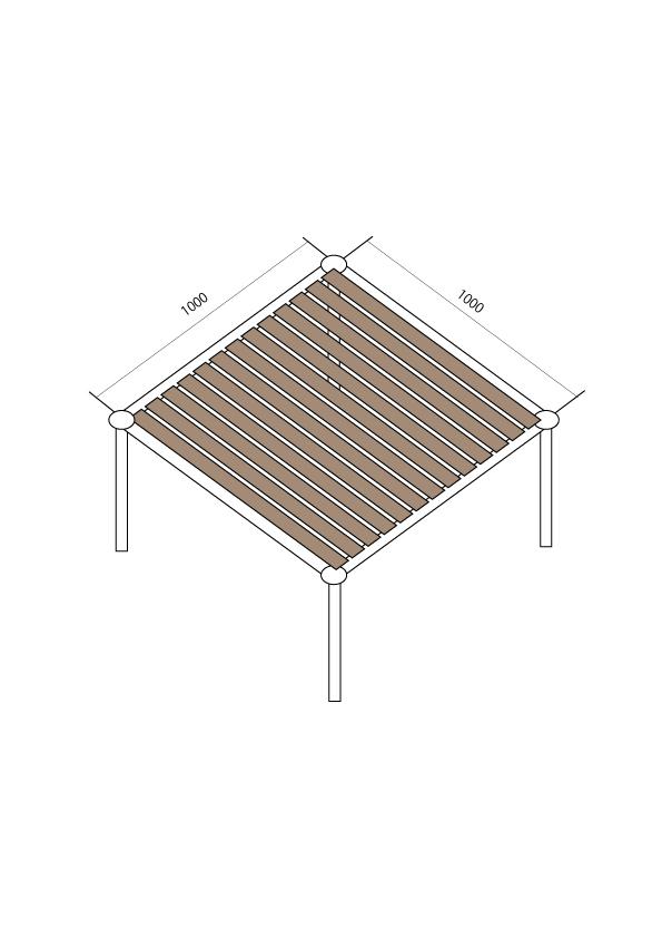 単管パイプの荷重強度について教えてください。 パイプのサイズ 外径48.3mm 肉厚2.4mm 長さ1000mm 図面のような1000mmの単管で台を作った場合は、 荷重は何キロまで耐えますか?(高さは500mm) (板の強度は無視してください) ※中間荷重強度の重量が4つに分散するのでしょうか?