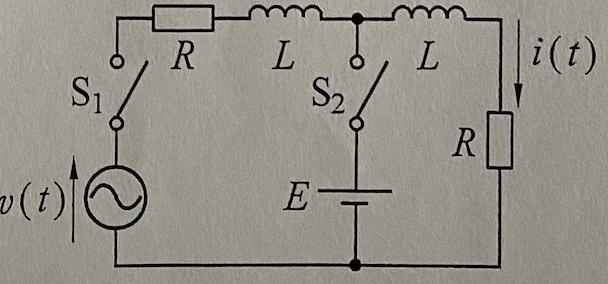 t=0でS1,t=TでS2を閉じる. v(t)=4Ecosωt ω=R/L,T=2πL/Rの関係がある. i(t)のt>0のおける時間応答を求めよ. スイッチが増えたら途端にわかりません ...