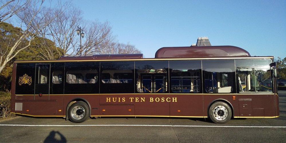 ハウステンボスの大型バス って、異様に長く感じますが12m以上あるのでしょか? それとも目の錯覚?