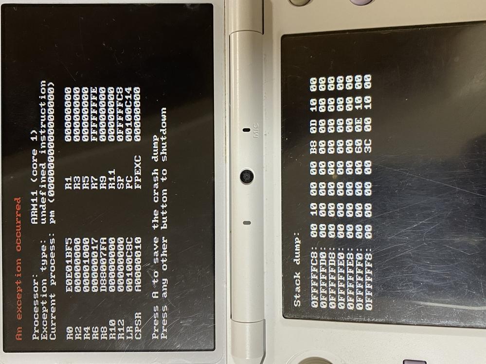 3DSについてです。 私の3DSはFBIなどを導入し本体改造しています。 本体更新を間違えてしてしまい、直そうとして色々やっていたら3DSが起動できなくなりました。電源ボタンを押すとランプだけ光り、画面は真っ暗な状態です。SDカードを抜き起動させると写真のような画面になります。 改善法や原因など教えてくださると嬉しいです