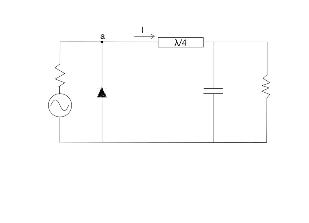 シングルシャント整流回路に関する質問です.a点から負荷を見たとき,Cが十分に大きい場合偶高調波でショート, 奇高調波でオープンになるのはわかるのですが,なぜ電流Iが全波整流された波形になるのかが...