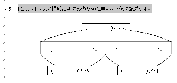 画像の問題の答えを教えてください MACアドレスの構成に関する次の図に適切な字句を記述せよ