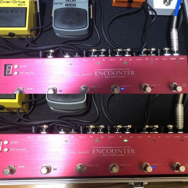 エフェクターボードのスイッチャーについてです。 このvital audioのスイッチャーを使っているのですが 上の写真を見てもらったら分かりますがループ2のボタンを押したら上の2が普通はランプが光るはずなのですが何も光りません。ということはループ2を押しても何もエフェクターが使えないということです。 下の写真を見てもらったらループ1のボタンを押したら上のランプ2が光ります。 これは何故こうなるか分かりますか??? 至急教えて頂きたいです!お願いします! あとループ3と4を押したら上のランプも3と4光ります。ループ1と2がおかしいです。