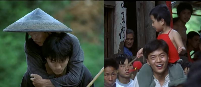 中国映画「山の郵便配達」をご覧になった方憶えていたら教えてください。 後半に差し掛かる辺りで息子が父を背負って川を渡るシーンがあります(写真左)。この時父親は背負われながら昔の事を思い出しているのですが、過去のシーンの方は(写真右)今と逆で父親が息子を背負っているのでしょうか?それとも背負われているのは子供の頃の父親で背負っているのは祖父になるのでしょうか? 字幕なしで中国は当然分かりませんので細かいところが全く分かりません。 母親との出会いのシーンとかは推測できますけど。