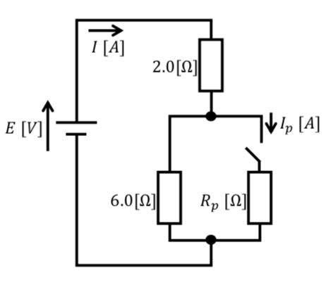 電気回路についての質問です。 1,スイッチを閉じた時電流Iが、閉じる前の2倍の電流が流れる場合のRpの値。 2,スイッチを閉じる前と閉じた後のそれぞれの合成抵抗の値。 3,スイッチが開いてる時Iに4A流れた場合の電源電圧の値。 4,スイッチが閉じてる時のIpに流れる電流の値。