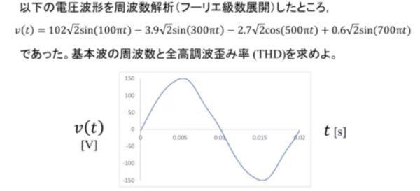 電気工学系の例題なのですが、周波数とTHD(全高長波歪み率)はどのように求められるのでしょうか。 どなたか教えて頂きたいです。