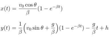 物理学の力学の問題の鉛直投げ上げ運動の空気抵抗ありの軌道です。 この画像の式からtを消去して、x、yの関係式を出すのですが、上手く作れません。 詳しい解説お願いしますm(_ _)m