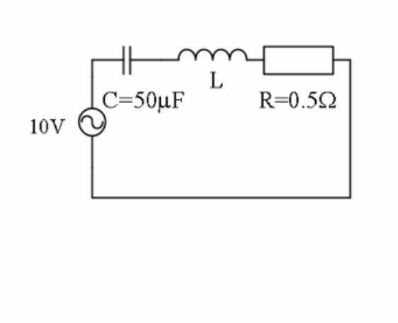 電気 回路 の問題です。電源周波数を変化させたとき共振時のコンデンサCの端子電圧は300V(実効値) このときの共振周波数fとそのときのLの値の求め方を教えてください