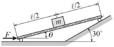 この力学の問題を教えてください。 図に示す 一端は水平面上に、他端は30˚ の傾きをもつ斜面上にある、中央に質量 m の物体を載せた長さl(エル)の軽い台車 があるとき、 台車に水平面に対して角度θをもたせるためには台車にどれだけの力を加えればよいか。 水平面と斜面の摩擦を無視して計算せよ。