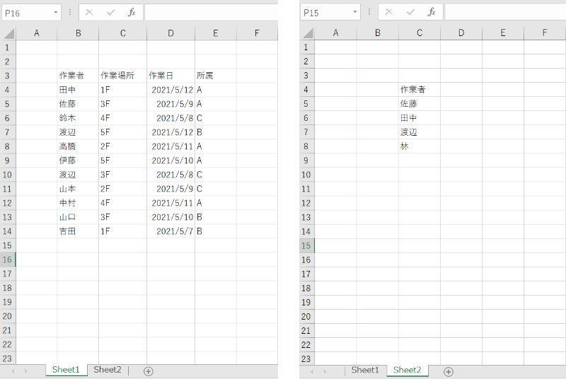 Excelのマクロについて質問です。 sheet1から、sheet2に名前がある人の列だけを表示するようなマクロを作成したいのですがどうすればよろしいのでしょうか。 shee2に載ってる名前は毎日変わるので、範囲で指定したいです。