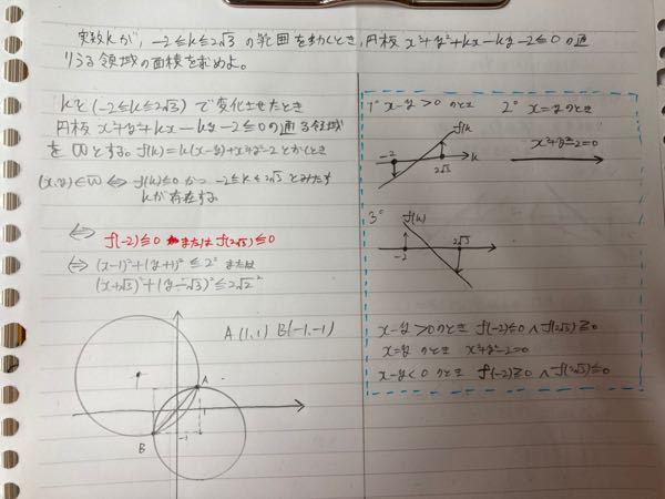 質問です。数学で赤のようになるのは何故でしょうか。自分は青枠内のように考えたのですが、何故赤のような条件がすぐに出てくるのかわかりません。説明していただける方がいらっしゃいましたら御回答よろしくおねが いします。