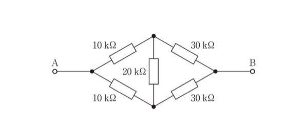 抵抗の計算です。 下記の合成抵抗は20kΩですが、計算の仕方を教えてください。