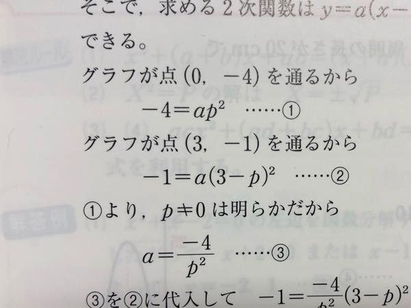 この①-4=ap^2のときに、なぜp≠0は明らかとなるんですか?