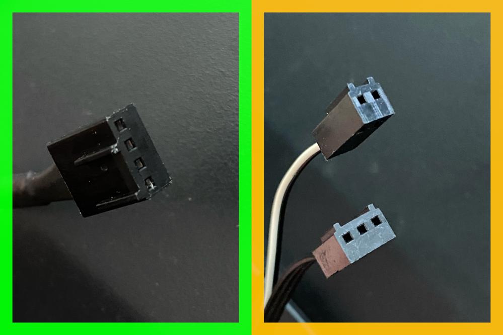 ファンケーブルを変換したいです。 ・排気ファン増設のために購入したファンのケーブルコネクタが添付画像の緑枠側(4pin)です。 マザーボードのSysFANが全3箇所、バック、サイドファンに使用しているので、残り1つ。 4pin分岐ケーブルの使用も考えましたが、ケーブルでゴチャつくのも、エアフローの妨げになるのも嫌なので、ここを使わずに、PCケースから出ているスピード/LEDコントローラーコネクタに接続したいと思います。 ・そのPCケースコネクタに接続するために、添付画像の黄枠のコネクタに変換したいです。(このコネクタはケースに標準装備されているサイドファンのケーブルコネクタを撮影したものです。) ●自分なりに変換ケーブルを探してみたのですが、その過程でさえ黄枠のケーブル名も分からずでした。 分かる方がいらっしゃいましたら、回答よろしくお願いします。 【参考URL】 ・PCケース http://www.enermaxjapan.com/Thormax-GT_top/ECA5030A-B_top.html ・M/B https://jp.msi.com/Motherboard/Z97-GAMING-5/Specification ・ファン https://www.coolermaster.com/jp/ja-jp/catalog/coolers/case-fan/sickleflow-120-blue/