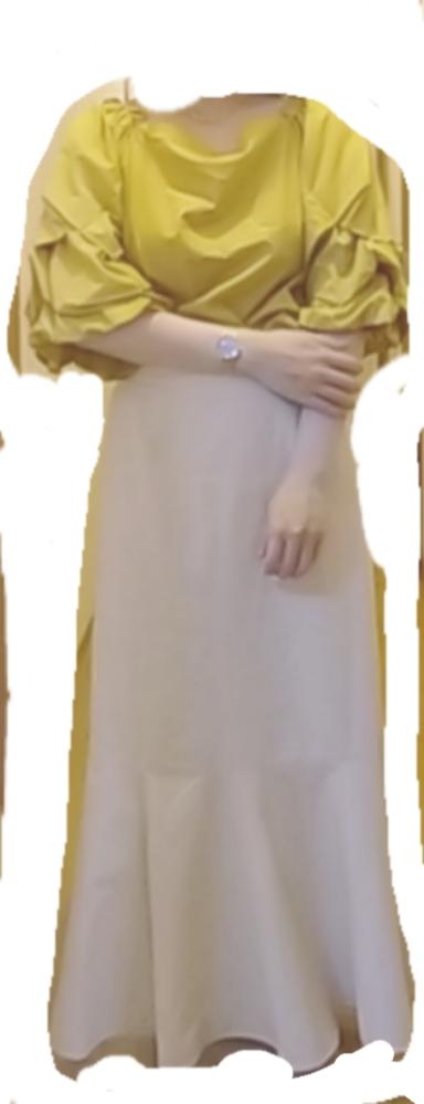黄色のFRAY I.Dの、袖が凝ってるブラウスと、ベージュっぽい白のマーメイドスカートをライブで着たいと思ってます。 それに合わせた曲を選びたくて、緑黄色社会のMelaとか、back numbe...