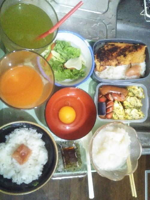 ♪お弁当おべんと嬉しいな〜お弁当はできましたか?朝ごはんは「ヨード卵・光と「大根すりすりとめかぶです...美味しいです❤」」