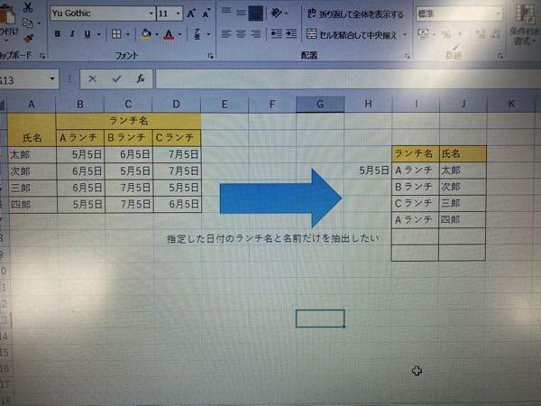 Excelについて 写真のように、日付の決まった日に食べるランチ名の書いた表から、指定した日付に誰がどのランチを食べるかを抽出したいのですがどうしたらできるでしょうか? ご教示お願いいたします。