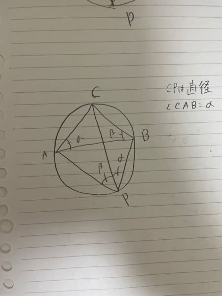 数学の問題です。 cpは直径です。角度CAP=α、角度CBA=βは問題文より与えられてます。なぜ角APC=β、角BPC=αになるのでしょうか?