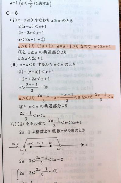 数学1 問. xの不等式 2 x-a <x+1 を満たす整数xが3個だけ存在する時、正の整数aの値を求めよ。 という問題で、解説を見たときにマーカーを引いたところがなぜ出てくるのかわかりません。