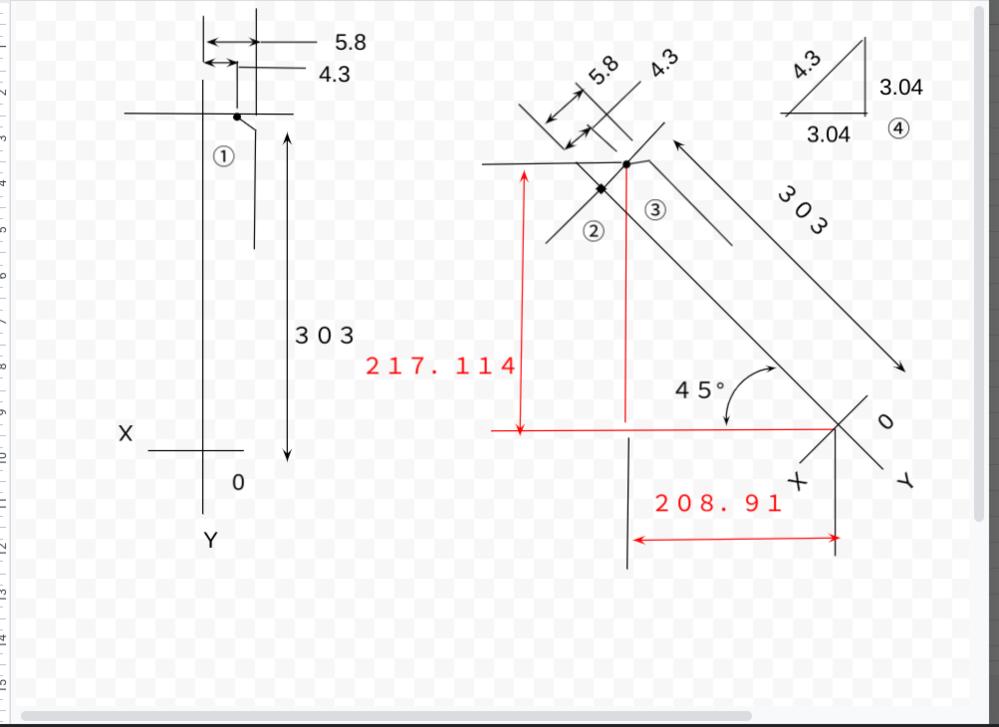 マシニングセンターのB軸回転時の座標について質問です。 添付した画像の左側XY0を中心としてX4.3Y303を右側の様に45°左回転させた時の座標はX208.91 Y217.114でしょうか? 先日