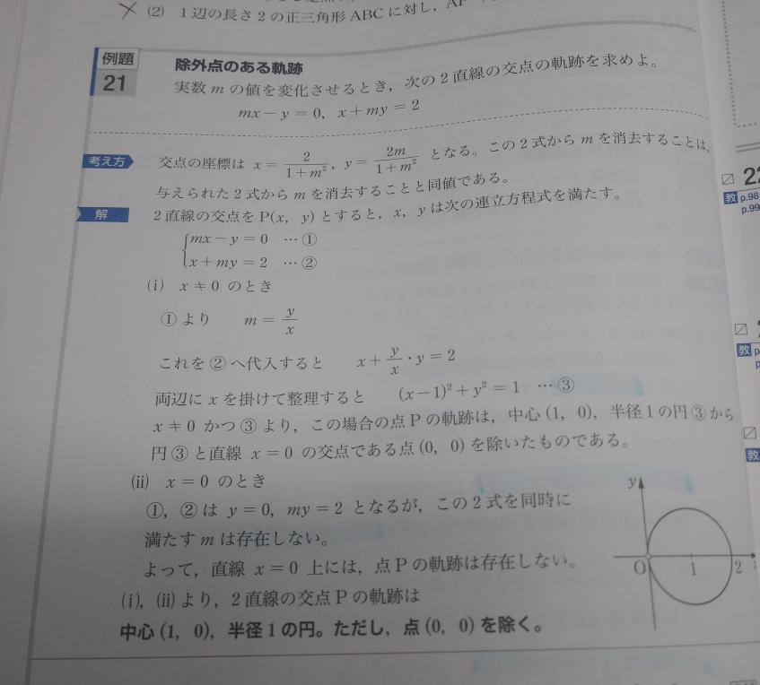 数学2の軌跡の問題です。 なぜこの問題はX=0の場合も求める必要があるのですか? 教えて頂けると嬉しいです。