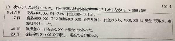 簿記の問題です。 写真のように取引要素の結合関係(←→)を教えてください。