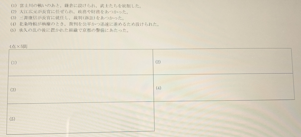 この日本史の問題について教えてください